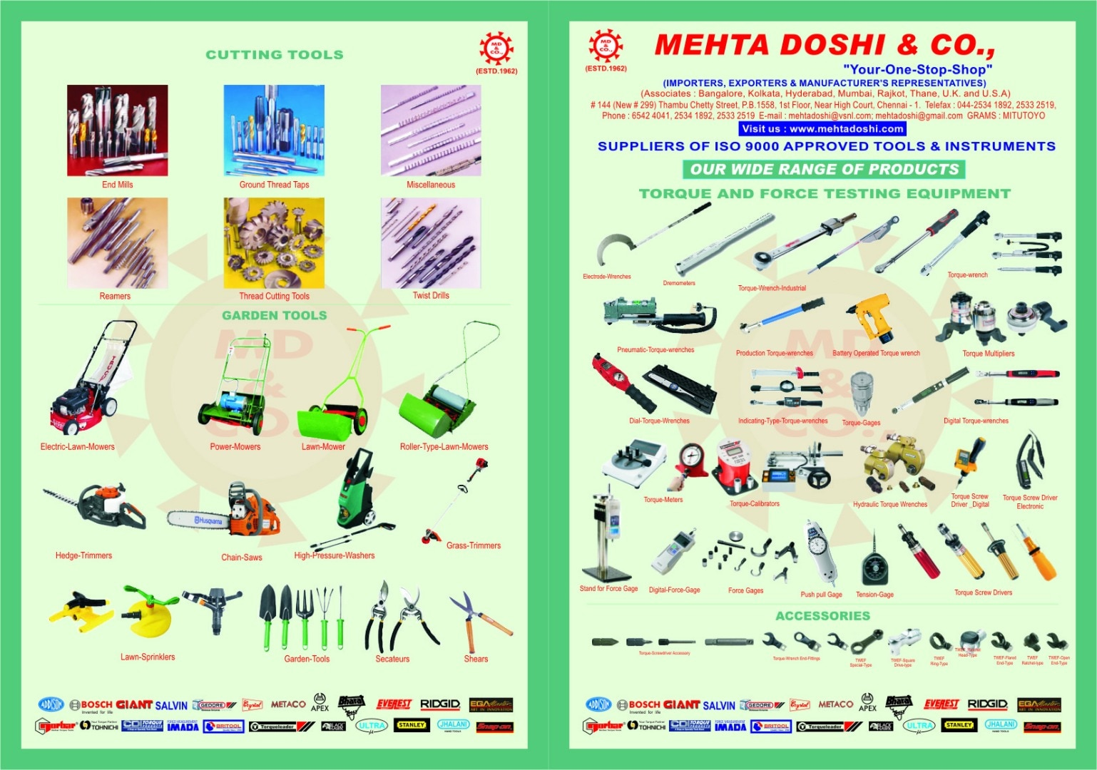 MEHTA DOSHI & CO Contact us: 044 25332519