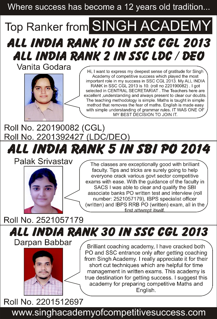 India No 1 Bank / Ssc Coaching Institute