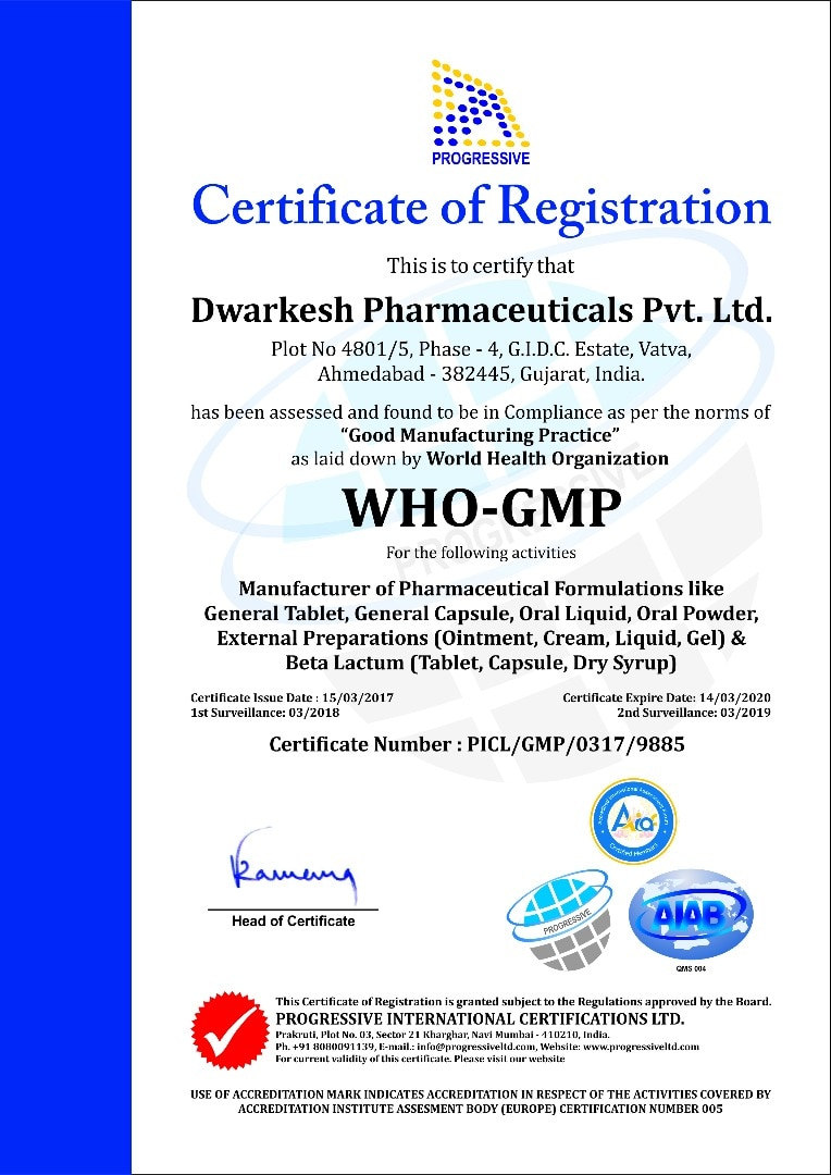 DWARKESH PHARMACEUTICALS PVT LTD