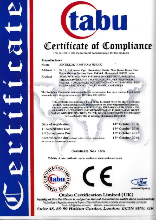 ARCELLOR CONTROLS ( INDIA)                                                                                                                                                            AN ISO 9001: 2015 ,14001:2015 ,OHSAS 18001:2007 , CE , PED certified company